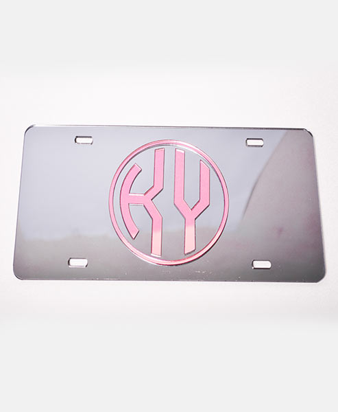 Grey/Pink License Plate