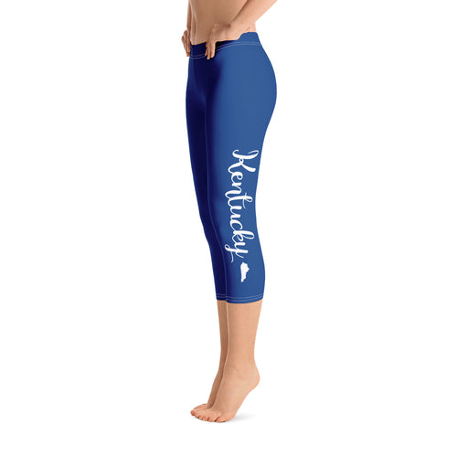 Kentucky Script Blue Capri Leggings