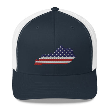 American Flag Kentucky Trucker Cap (White & Navy)