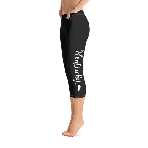 Kentucky Script Black Capri Leggings