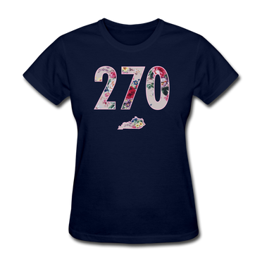 270 Floral SS Tee - navy