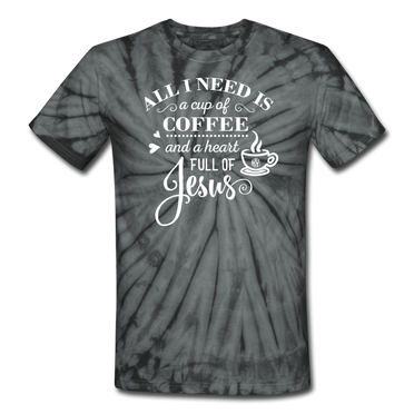 Coffee and Jesus Tie Dye Tee - spider black