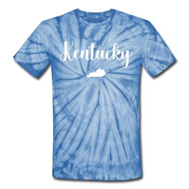 Kentucky Tie Dye Tee - spider baby blue