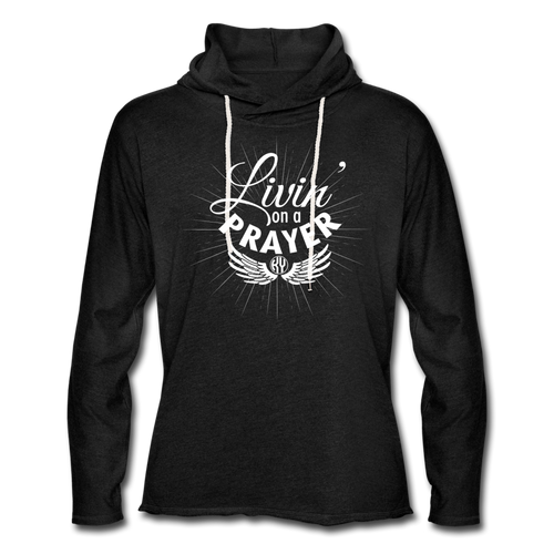 Livin' on a Prayer Lightweight Hoodie - charcoal gray