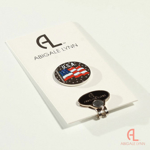 Abigale Lynn Golf Ball Marker & Hat Clip - USA Flag