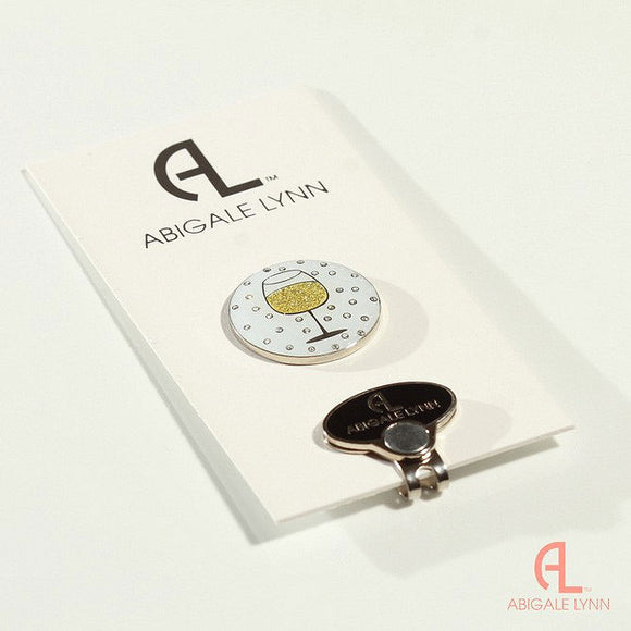 Abigale Lynn Golf Ball Marker & Hat Clip - Wine Glass