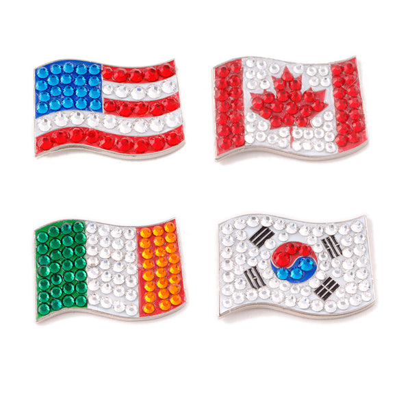 Bonjoc Crystal Golf Ball Marker & Magnetic Hat Clip - Flag Collection