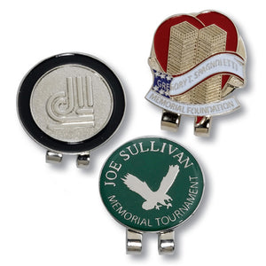 Custom Personalized Die Struck Ball Marker & Hat Clip (Min 100) - Golf Tees Etc