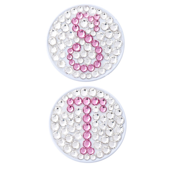 Bonjoc Crystal Golf Ball Marker & Magnetic Hat Clip - Monogram - White/Pink