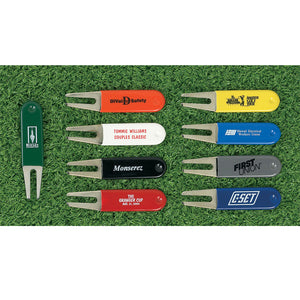Custom Personalized Rubber Coated Bent Divot Repair Tools - Golf Tees Etc