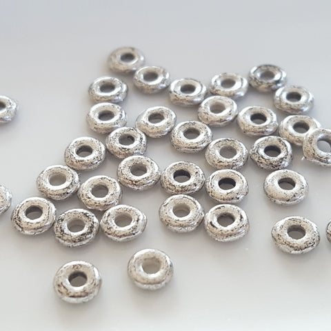 O-beads 4 mm Silver Tone Patine x 5 g