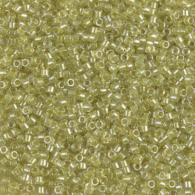Miyuki Delica 11/0 DB-0910 Sparkling Yellow Green Lined Crystal x 8 g - Elégance de Perles