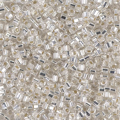 Square Beads 1.8 mm SB-0001 Silverlined Crystal x 10 g