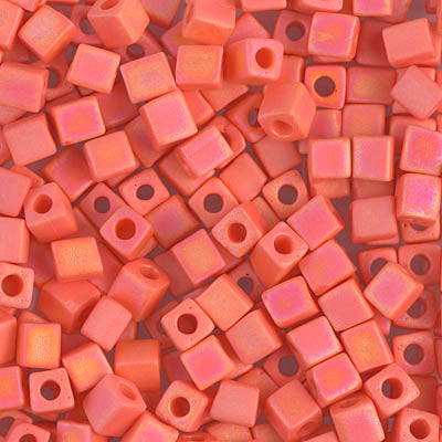 Square Beads 1.8 mm SB-0406FR Mat Opaque Orange AB x 10 g