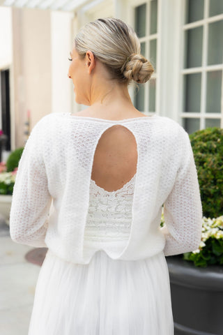 Bridal sweater with an extra large back neckline