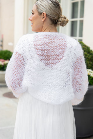 Wide, loose bolero for brides hand-knitted in LA