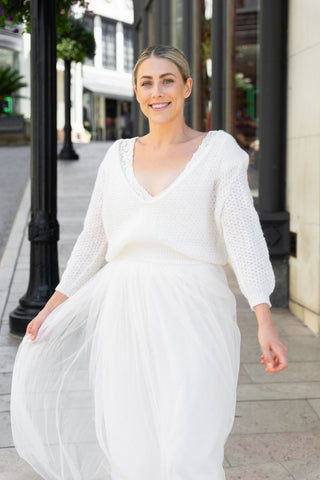 Bridal sweater loose with extra big V-Neck