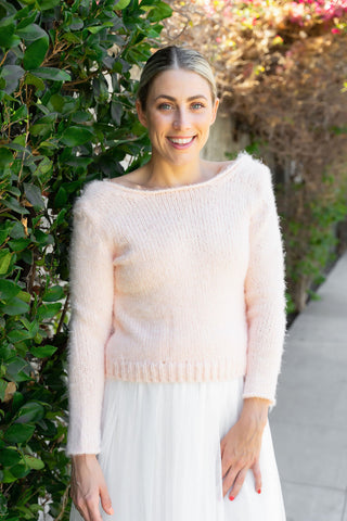 Cozy knit sweater in ivory, blush and grey not only for brides