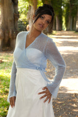Light blue wrap jacket for getting married