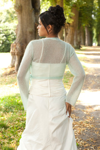 Bridal cardigan in mint for spring brides