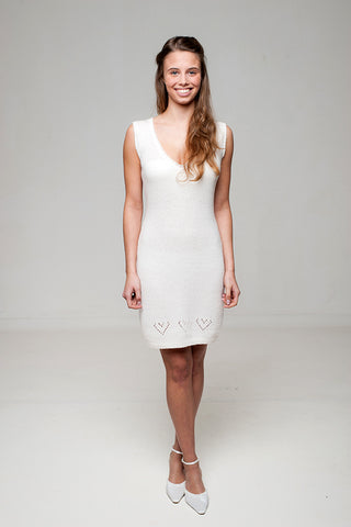 Knit dress in white and ivory with hearts for brides