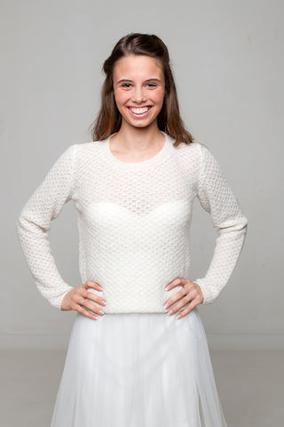 Bridal sweater knitted from alpaca cashmere and silk for vintage wedding
