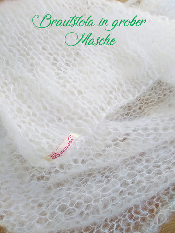 Hand-knitted bridal stole in a super large mesh