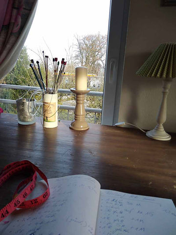 My work space in my knitting atelier