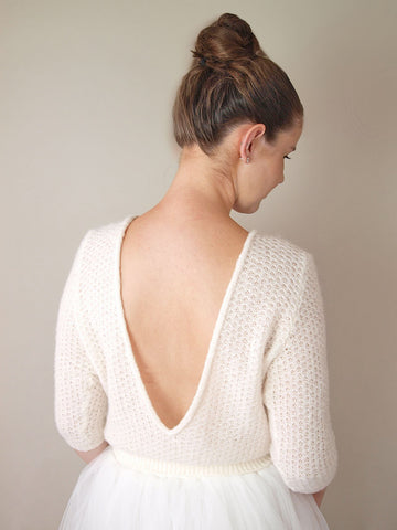 Chilly bridal sweater with extra large back neckline knitted by Beemohr