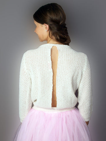 Bridal sweater knitted from soft wool