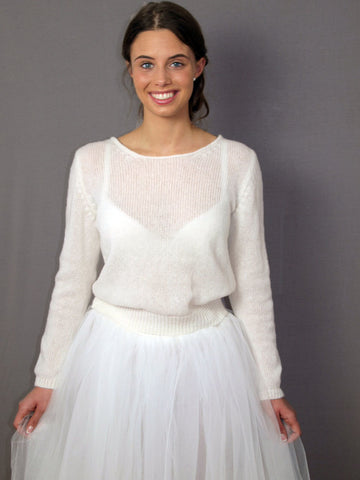 Knit sweater for weddings in ivory and off white and white
