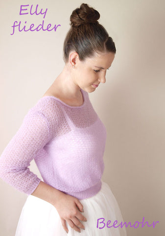 Knitted cardigan with a lace pattern in lilac for parties