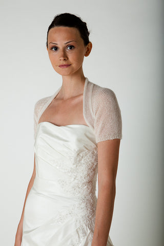 Cashmere bolero with short sleeves for the bride