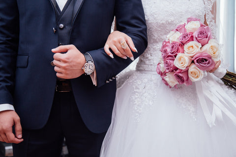 Wedding couple with wedding dress and suit