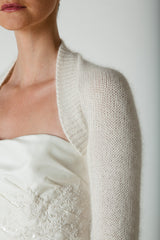 Bridal jacket knitted from angora white for marriage