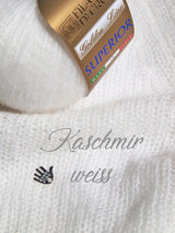 Cashmere wool white for a hand-knitted sweater for the bride