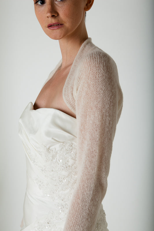 Bolero jacket knitted in ivory for your wedding dress