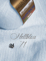 Cashmere wool light blue for a hand-knitted sweater for the bride
