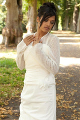 Wedding jacket for church and registry office in ivory