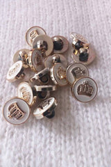 Gold white buttons with crown for cardigans