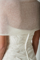 KNIT KIT: Wool and knitting instructions for knitted bridal stole ivory