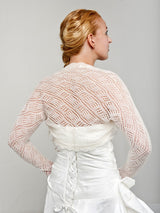 Vintage Braut Bolero Lace 3/4 Arm in Stickoptik