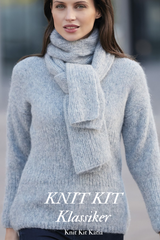 Knitted sweater made of light blue silver 255 by Katia