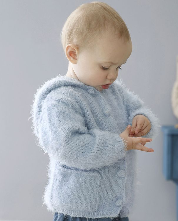 Beaugency Wolle von Phildar in ciel hellblau Strickjacke für Kinder