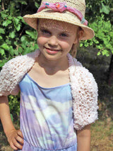 Knit Kit: cozy bolero for children Glen stretched with soft wool in white, pink, light blue ...
