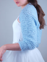 Cardigan ♥ FLOWER ♥ with 3/4 sleeves, cuddly knitted in white, ivory, pink, beige and light blue for autumn and winter