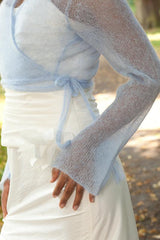 Bridal jacket in light blue cashmere with long sleeves