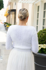 Fluffy cardigan in rose blush, ivory, light blue and beige knitted for brides JANE