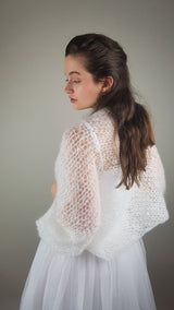Loose bolero SKY to knit yourself with mohair wool from beemohr