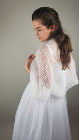 Bridal bolero made of soft mohair knitted for weddings during Corona